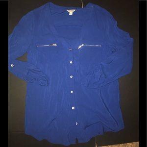 Guess Blue Button up blouse